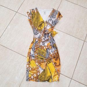 Cache faux wrap dress Yellow SZ XS